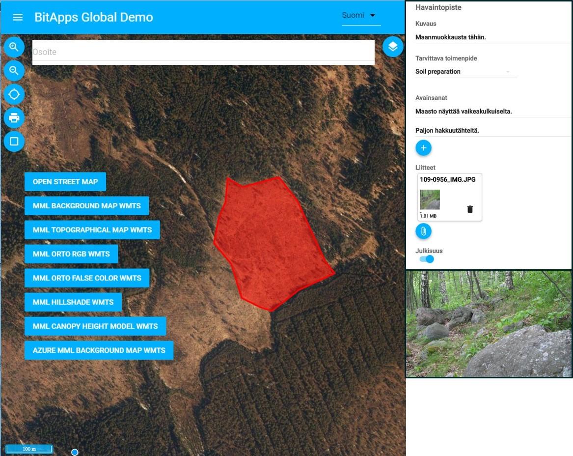 Maaseutu 2.0 -hankkeen artikkeli, kuva 2: Työkohde-ehdotus metsänomistajan mobiilisovelluksella