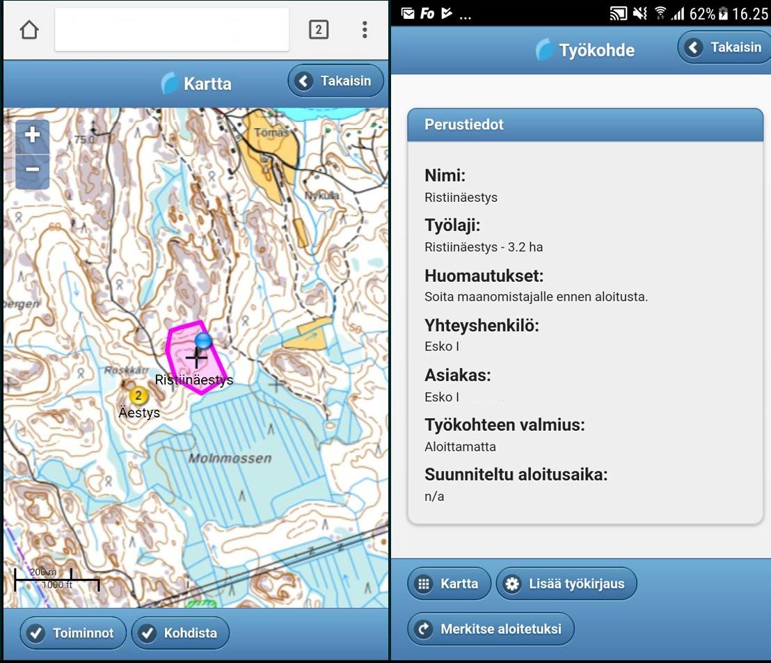 Maaseutu 2.0 -hankkeen artikkeli, kuva 4: Työkohde työnsuorittajan mobiilisovelluksessa