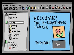 kuvitteellinen piirroskuva verkko-oppimisympäristöstä tietokoneen näytöllä