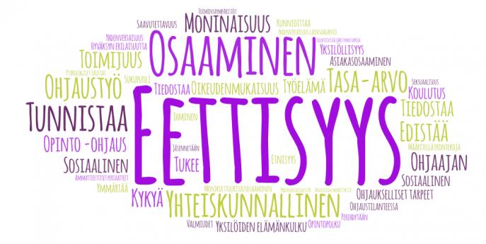 Sanapilvessä opetussuunnitelmatekstistä poimittuja sanoja, joista eniten mainitut näkyvät isoimpana. Suurimpia sanoja ovat eettisyys, osaaminen, yhteiskunnallinen, tunnistaa, tasa-arvo, moninaisuus, ohjaustyö.