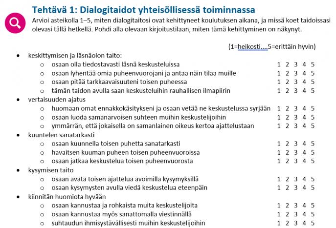 Kuva itsearviointilomakkeen ensimmäisestä tehtävästä, jossa arvioidaan dialogitaitoja yhteisöllisessä toiminnassa numeroilla 1-5.