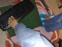 Näppäimistön käyttäminen jaloilla